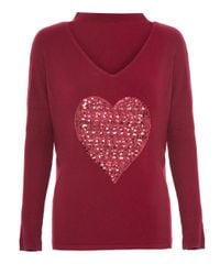 Dorothy Perkins Red Quiz Sequin Heart Choker Knit Top