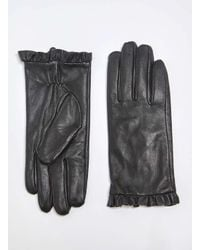 Dorothy Perkins | Black Leather Frill Gloves | Lyst