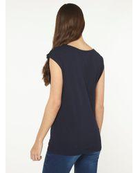 Dorothy Perkins Blue Tall Navy Embellished Yoke T-shirt