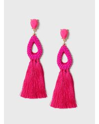 Dorothy Perkins - Pink Fuchsia Seedbead And Tassel Earrings - Lyst