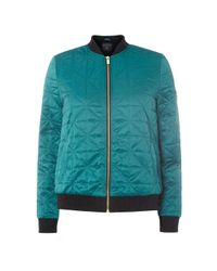 Dorothy Perkins | Tall Green Faux Fur Lined Bomber Jacket | Lyst