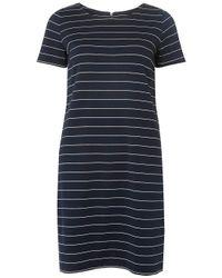 Dorothy Perkins Blue Vila Navy And White Striped Zip Shift Dress