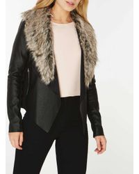 Dorothy Perkins - Black Faux Fur Collar Waterfall Jacket - Lyst