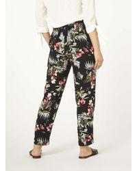 Dorothy Perkins Petite Black And Pink Safari Floral Print Joggers