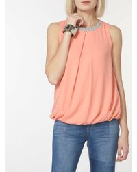 Dorothy Perkins Multicolor Coral Embellished Sleeveless Top