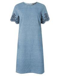 Dorothy Perkins Tall Blue Embroidered Sleeve Denim Shift Dress