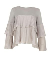 Dorothy Perkins Gray Blue Vanilla Grey Pleated Tiered Top