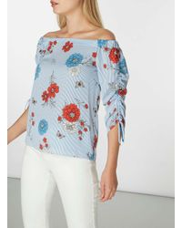 Dorothy Perkins Blue Striped Ruched Bardot Top