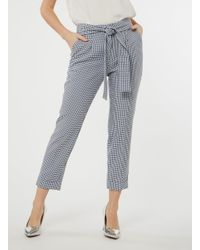 Dorothy Perkins - Blue Navy Gingham Tie Trousers - Lyst