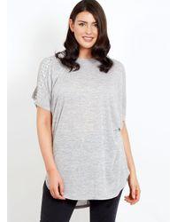 Dorothy Perkins Gray Blue Vanilla Curve Grey Cold Shoulder Top