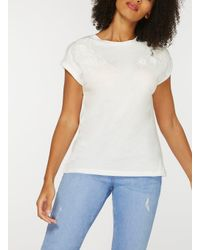 Dorothy Perkins White Ivory Floral Applique T-shirt