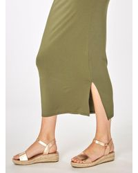 Dorothy Perkins Green Khaki Jersey Knot Front Maxi Dress