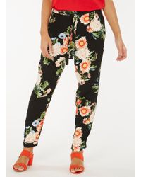 Dorothy Perkins Black And Red Floral Print Joggers