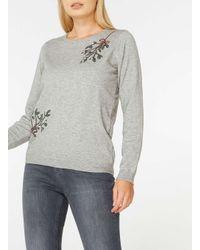 Dorothy Perkins Gray Grey Sequin Mistletoe Jumper