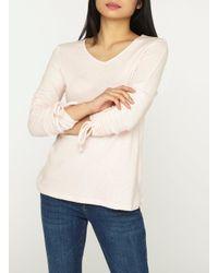 Dorothy Perkins Petite Pink Ruched Sleeve Top