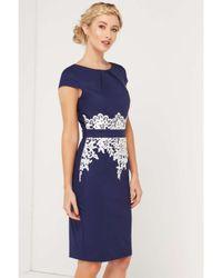 Dorothy Perkins Blue Paper Dolls Navy Lace Trim Dress
