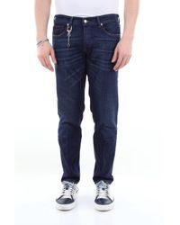 Jeans scuro 5 tasche in cotone stretch di C+ Plus in Blue da Uomo