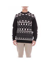 Pullover In Lana Shetland Con Intarsi di Prada in Black da Uomo