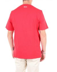 T-shirt manche courte MSGM pour homme en coloris Red