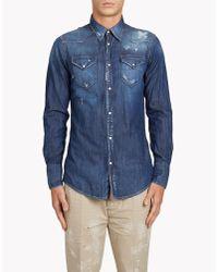 DSquared² - Blue Western Shirt for Men - Lyst