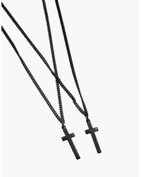 DSquared² - Black Double Cross Necklace - Lyst