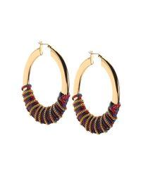 Rebecca Minkoff - Metallic Thread Wrapped Statement Hoop Earrings - Lyst