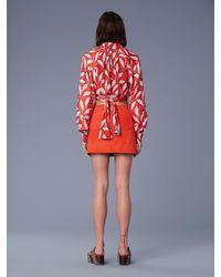 Diane von Furstenberg Red Button Front Mini Skirt