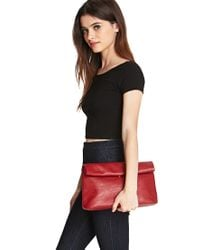 Forever 21 - Red Faux Leather Roll-Top Clutch - Lyst
