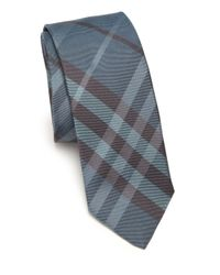 Burberry | Blue Check Silk Tie for Men | Lyst
