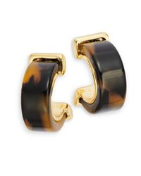 Lauren by Ralph Lauren | Brown Faux Tortoiseshell Huggie Earrings | Lyst