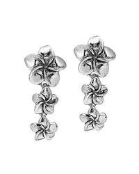Aeravida - Metallic Tiered Hawaiian Plumeria .925 Sterling Silver Earrings - Lyst