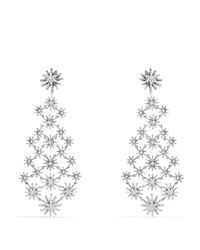David Yurman Metallic Starburst Chandelier Earrings With Diamonds