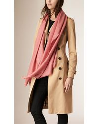 Burberry Lightweight Metallic Cashmere Blend Scarf Pale Pink