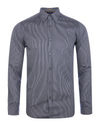 Ted Baker | Blue Verticl Satin Stripe Shirt for Men | Lyst