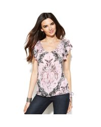 INC International Concepts - Multicolor Plus Size Printed Embellished Keyhole Top - Lyst