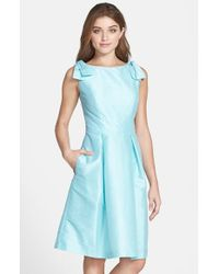 Alfred Sung | Blue Bateau Neck Bow Shoulder Dupioni Dress | Lyst