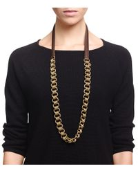 Tory Burch Multicolor Abella Leather-And-Chain Necklace