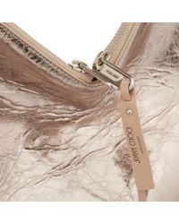 Jimmy Choo Natural Raven Nude Metallic Crinkled Lambskin Shoulder Bag