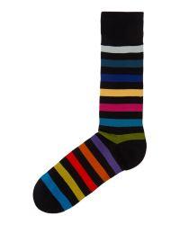 Paul Smith Black Rainbow Stripe Socks for men
