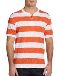 Vince - Orange Wide Striped Shortsleeve Henley for Men - Lyst