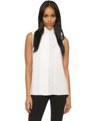 Vince | White Laser Cut Turtleneck Top | Lyst