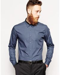 PS by Paul Smith Gray Shirt with Contrast Collar for men