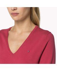 Tommy Hilfiger Purple Pima Cotton V-neck Sweater