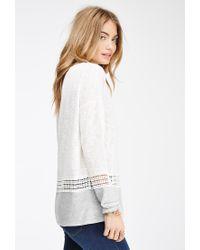 Forever 21 - White Crochet-paneled Slub Knit Sweater - Lyst