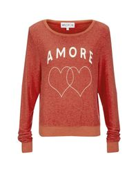 Wildfox | Red Women's Amore Hearts Baggy Beach Jumper | Lyst