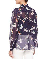 MSGM - Multicolor Sheer Bird-print Silk Blouse - Lyst
