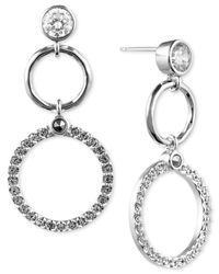 Judith Jack | Metallic Silver-tone Hammered Marcasite Crystal Double Circle Drop Earrings | Lyst