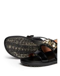 Marni - Black Crystal Strap Leather Sandals - Lyst