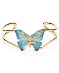 Alexis Bittar - Blue Handstenciled Lucite Crystal Pave Butterfly Cuff - Lyst