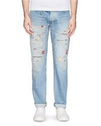 FDMTL Blue Slim-fit Distressed Patch Jeans for men
